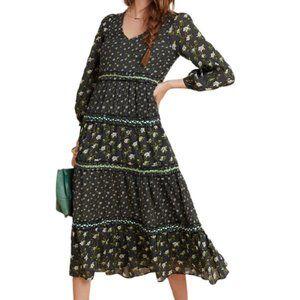 NWT Anthro Karoline Tiered Prairie Maxi Dress Navy
